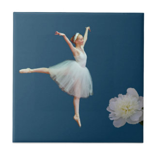 Ballerina in White with Peony Flower, Name Tile