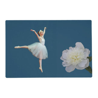 Ballerina in White with Peony Flower Placemat