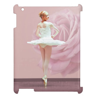 Ballerina in White with Pink Rose Case For The iPad