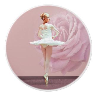 Ballerina in White with Pink Rose Ceramic Knob