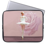 Ballerina in White with Pink Rose Computer Sleeves