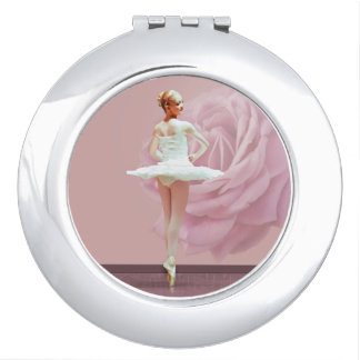 Ballerina in White with Pink Rose Customizable Makeup Mirror