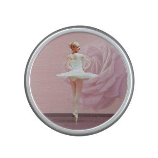 Ballerina in White with Pink Rose Customizable Speaker
