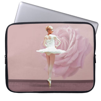 Ballerina in White with Pink Rose Laptop Computer Sleeve