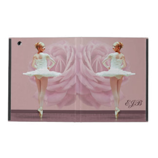 Ballerina in White with Pink Rose, Monogram iPad Cover