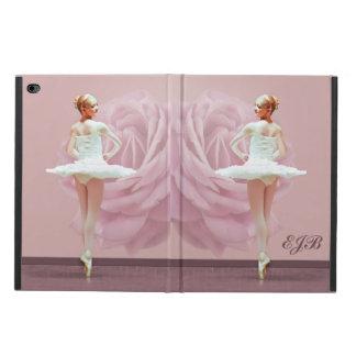 Ballerina in White with Pink Rose, Monogram Powis iPad Air 2 Case