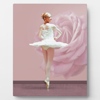 Ballerina in White with Pink Rose Plaque
