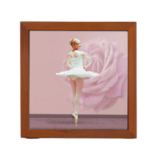 Ballerina in White with Pink Rose Reversible Pencil Holder