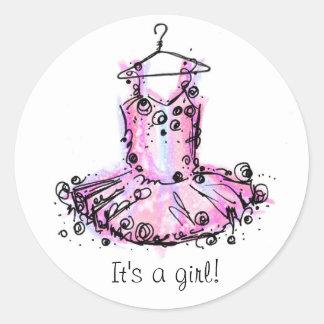 Ballerina, It's a girl! Round Sticker