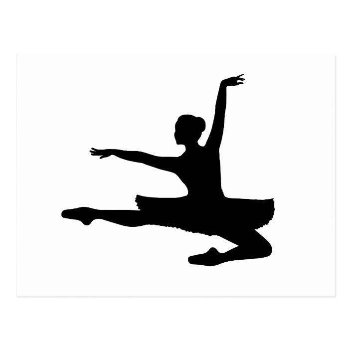 Ballerina Jete Ballet Dancer Silhouette Postcard Zazzle Com