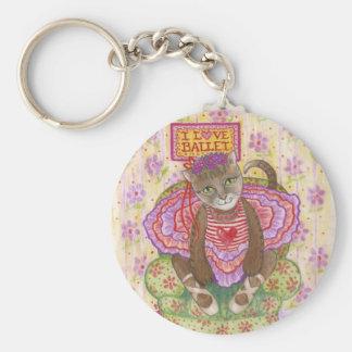 Ballerina Kitty Basic Round Button Keychain