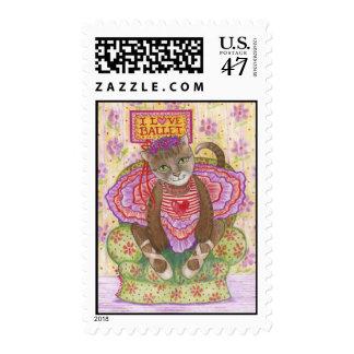 Ballerina Kitty Postage Stamp