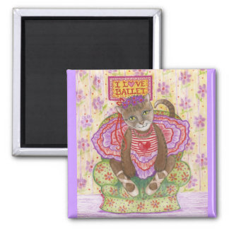 Ballerina Kitty Square Magnet