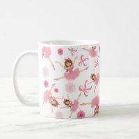 Ballerina Leaping in Pink Coffee Mug