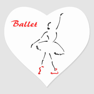 Ballerina logo with Ballet slogan -- heart shaped Heart Sticker