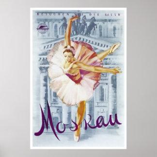 Ballerina Moscow Bolshoi Theatre Vintage Travel Poster