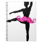 Ballerina Moustache Spiral Note Book
