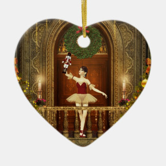 Ballerina Nutcracker Buon Natale Heart Ornament