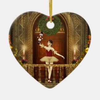 Ballerina Nutcracker Feliz Navidad Heart Ornament