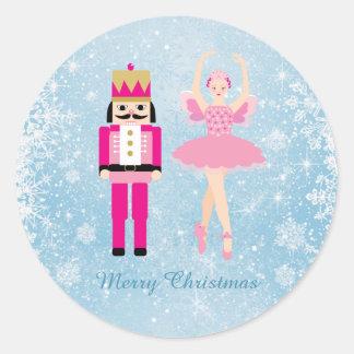 Ballerina & Nutcracker on blue Christmas Classic Round Sticker
