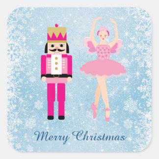 Ballerina & Nutcracker on blue Christmas Square Sticker