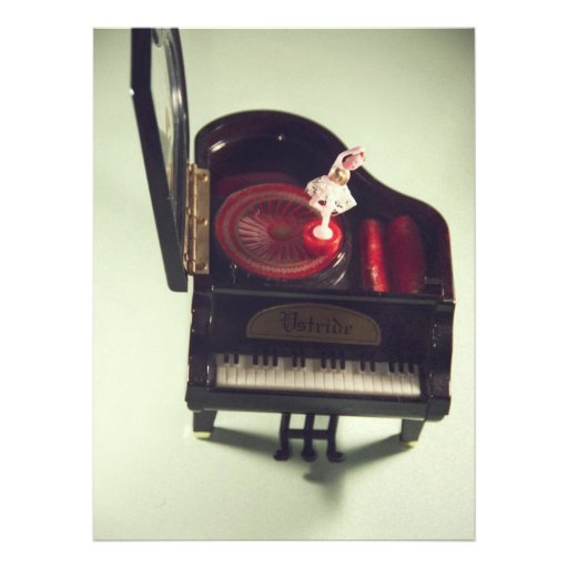Ballerina on a piano music box personalized announcement