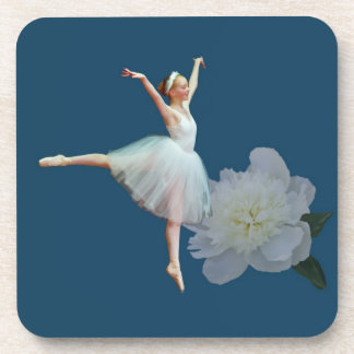 Ballerina on Blue and White Peony Coasters
