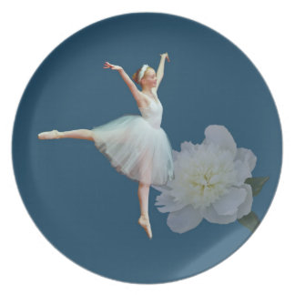 Ballerina on Blue and White Peony Plate