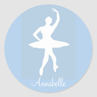 Ballerina on Blue Round Stickers