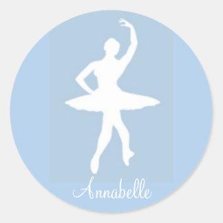 Ballerina on Blue Round Stickers