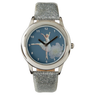 Ballerina on Blue, White Peony with Numerals Wristwatch