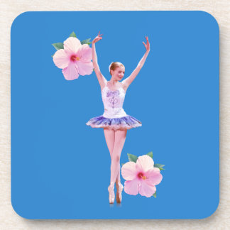 Ballerina on Blue with Pink Hibiscus Beverage Coaster