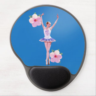 Ballerina on Blue with Pink Hibiscus Gel Mouse Pad