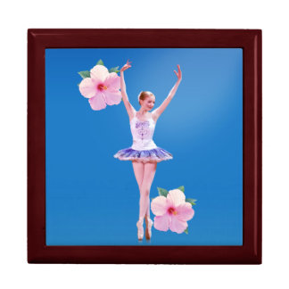 Ballerina on Blue with Pink Hibiscus Gift Box