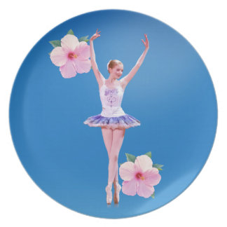 Ballerina on Blue with Pink Hibiscus Plaque Dinner Plate