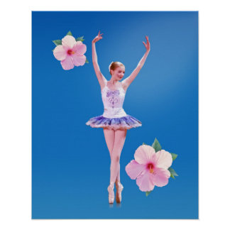 Ballerina on Blue with Pink Hibiscus Poster