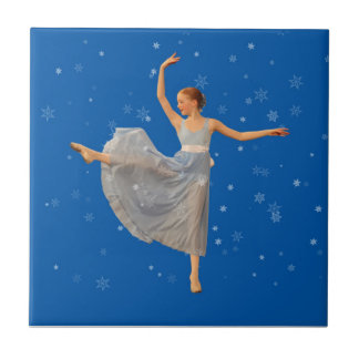 Ballerina on Blue with Snowflakes Tile