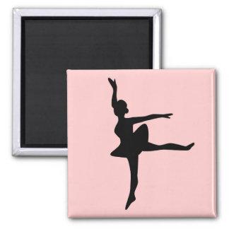 Ballerina on Blush 2 Inch Square Magnet