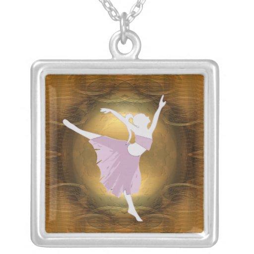 ballerina on gold pendant necklace