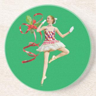 Ballerina on Green Holiday Coaster