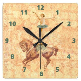 Ballerina on Horseback Square Wall Clock