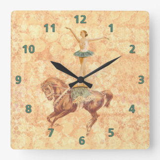 Ballerina on Horseback Square Wall Clocks