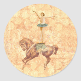 Ballerina on Horseback Round Sticker