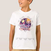 Ballerina on Light Gray and White Chevron Pattern T-Shirt