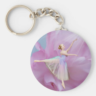 Ballerina on Pink and Blue Keychain