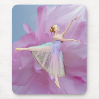 Ballerina on Pink and Blue Mouse Pad