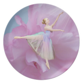 Ballerina on Pink and Blue Plate