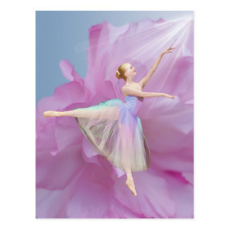 Ballerina on Pink and Blue Postcard
