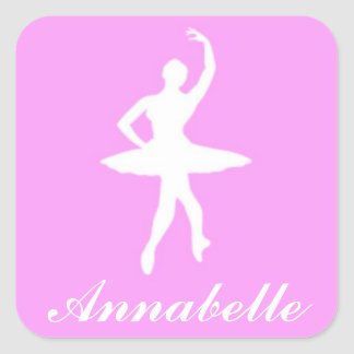 Ballerina on Pink Personalized Stickers