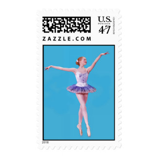 Ballerina On Point  in Purple and White Postage